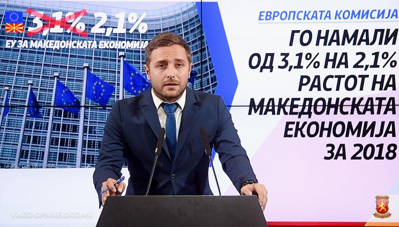 Арсовски: Европската комисија потврди дека економијата оди надоле