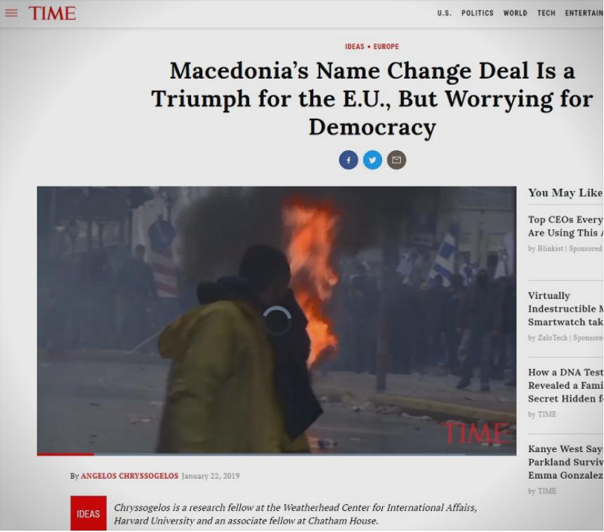 """Американски """"Тајм"""": Заев и Ципрас на сила го наметнуваат Договорот од Преспа"""