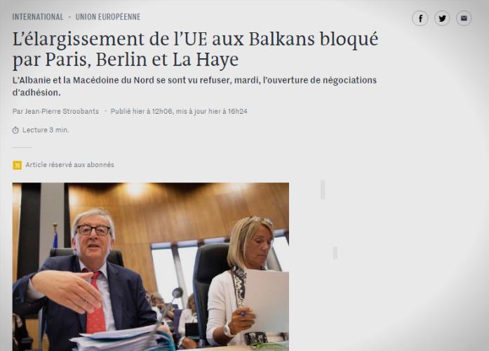 """""""Ле монд"""": Проширувањето на ЕУ на Балканот го блокираа Париз, Берлин и Хаг"""